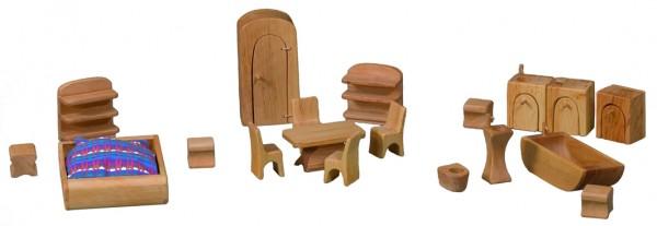 Möbelsatz für Puppenhäuser 19-teilig