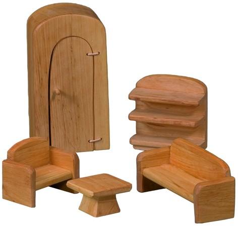 Möbelsatz Wohnzimmer für Puppenhäuser 5-teilig